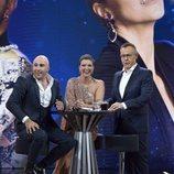 Kiko Rivera, María Jesús y Jordi González en el plató de 'GH Dúo' durante la final