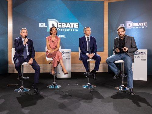 Santiago González, Ana Pastor, Vicente Vallés y Cesar González, en la rueda de prensa de 'El debate' de Atresmedia