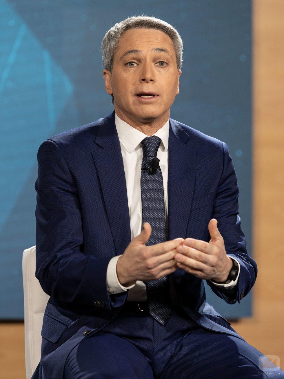 Vicente Vallés, en la rueda de prensa de 'El debate' de Atresmedia