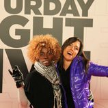 D'Noe y Marta Nebot en la premiere de 'Saturday Night Live'.