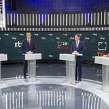 Los candidatos, en 'El debate en RTVE', tras sus atriles