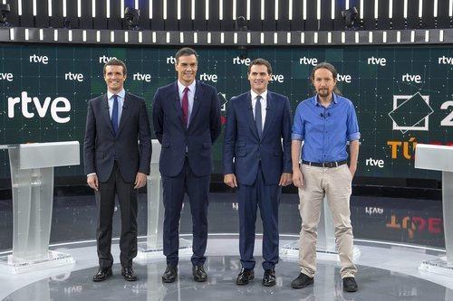 Los candidatos de los principales partidos políticos en 'El debate en RTVE'