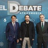 José Creuheras, Pablo Iglesias y Silvio González en 'El debate decisivo'