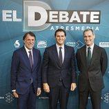 José Creuheras, Albert Rivera y Silvio González en 'El debate decisivo'