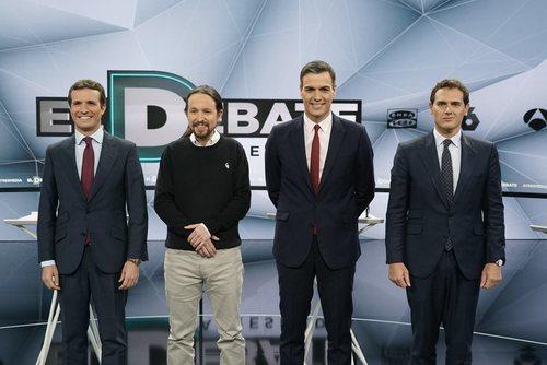 Los principales candidatos a la presidencia en 'El debate decisivo' de Atresmedia