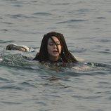 Mahi, nadando hacia la orilla de la isla, en la Gala 1 de 'Supervivientes 2019'