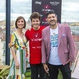 Miki Nuñez, Julia Varela y Tony Aguilar en su despedida antes de Eurovisión 2019