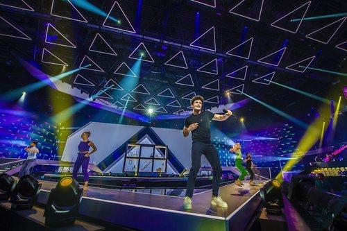Miki Núñez y su equipo de bailarines, en su primer ensayo para Eurovisión 2019