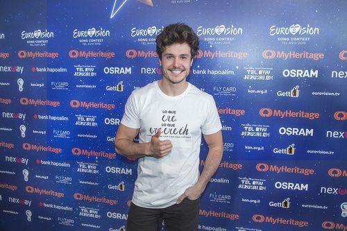 Miki Núñez en la rueda de prensa después del primer ensayo de Eurovisión 2019
