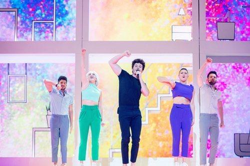"Miki Núñez bailando ""La Venda"" en el segundo ensayo de Eurovisión 2019"