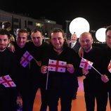 Oto Nemsadze y su equipo, en la alfombra naranja de Eurovisión 2019
