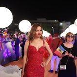 Anna Odobescu, en la alfombra naranja de Eurovisión 2019
