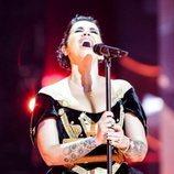 Jonida Maliqi, representante de Albania, en la Gran Final de Eurovisión 2019