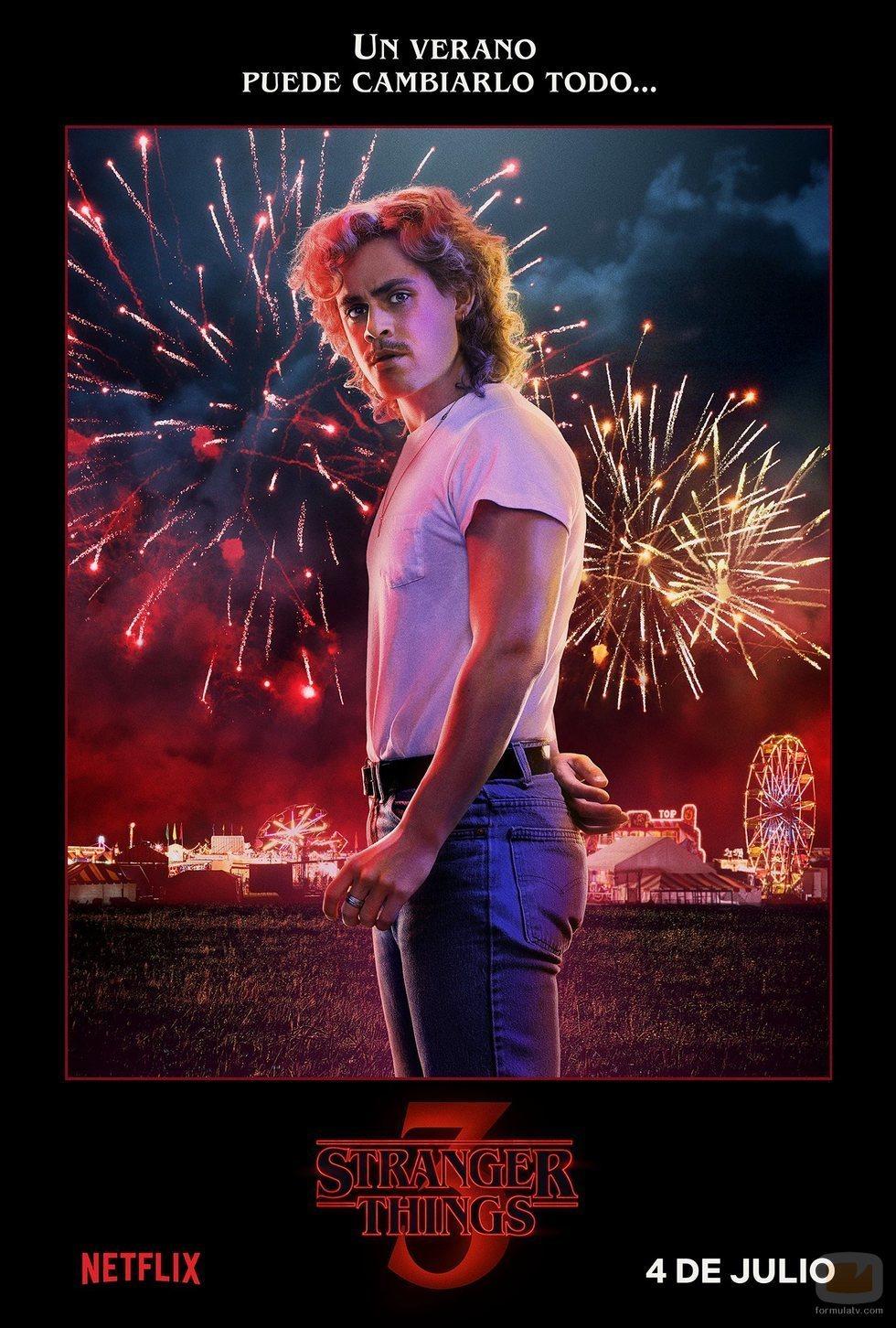 Póster individual de Billy Hargrove para la tercera temporada de 'Stranger Things'