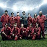 La banda del Profesor de 'La Casa de Papel' como un equipo de fútbol