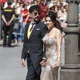 Jorge Marrón Martín junto a su novia Arancha Morales en la boda de Pilar Rubio y Sergio Ramos