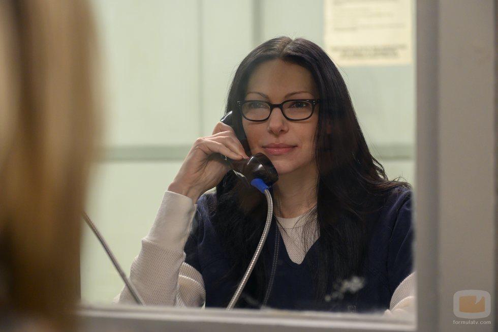 Laura Prepon durante la grabación de la temporada 7 de 'Orange is the New Black'