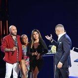 Isabel Pantoja junto a sus hijos y Jorge Javier Vázquez en 'Supervivientes 2019'