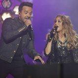 Luis Fonsi y Paulina Rubio en el concierto de 'La Voz'