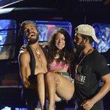 Mahi Masegosa con Fabio Colloricchio y Omar Montes en la gran final de 'Supervivientes 2019'