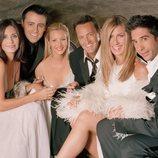 Los actores de 'Friends' brindan con champán