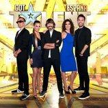 Santi Millán, presentador de 'Got Talent 5', junto al jurado completo