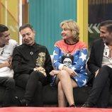 El Cejas, Maestro Joao, Mila Ximénez y Gianmarco Onestini en la gala 3 de 'GH VIP 7'