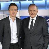 Pedro Piqueras e Íñigo Errejón, en 'Informativos Telecinco'