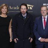 Pablo Iglesias con María Casado y Manuel Campo Vidal en el 'Debate electoral 4-N'