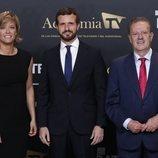 Pablo Casado con María Casado y Manuel Campo Vidal en el 'Debate electoral 4-N'