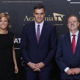 Pedro Sánchez con María Casado y Manuel Campo Vidal en el 'Debate electoral 4-N'