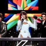Aitana durante el discurso al ganar en LOS40 Music Awards 2019