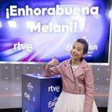 Melani García posa en la rueda de prensa de RTVE tras su paso por el Festival de Eurovisión Junior 2019