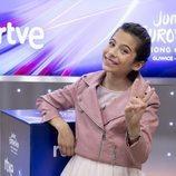 Melani García, sonriente en la rueda de prensa de RTVE después de Eurovisión Junior 2019