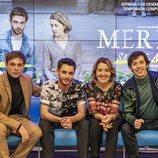 Carlos Cuevas, David Solans, María Pujalte y Pablo Capuz en la rueda de prensa de 'Merlí: Sapere Aude' en Barcelona
