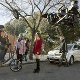 Daniel Grao, Oriol Cervera, María Rivera y Carmen Arrufat en el rodaje de 'HIT'