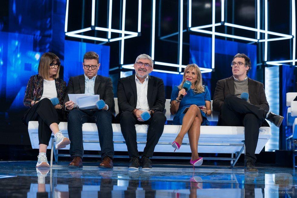Noemí Galera, Tinet Rubira, Fernando López Puig, Toñi Prieto y Nacho Gómez, en la rueda de presentación de 'OT 2020'