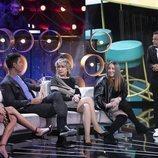 Sofía Suescun, Diego Matamoros, Mila Ximénez y Rocío Flores en 'El tiempo del descuento'