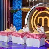 Los jueces de 'MasterChef Junior 7' durante la prueba de la pasta
