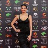 Sara Sálamo posa en la alfombra roja de los Premios Goya 2020