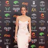 María Escarmiento posa en la alfombra roja de los Premios Goya 2020
