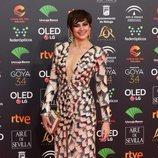 Cuca Escribano posa en la alfombra roja de los Premios Goya 2020