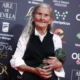 Benedicta Sánchez con su Premio Goya 2020 a Mejor Actriz Revelación