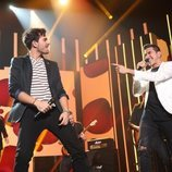 Bruno y Javy cantando juntos en la Gala 2 de 'OT 2020'