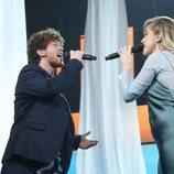 Samantha y Jesús cantando en la Gala 2 de 'OT 2020'