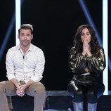 Hugo Castejón y Anabel Pantoja en la sala de expulsión de la Gala 3 de 'El tiempo del descuento'