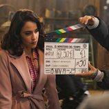 Macarena García como Lola en el rodaje de la cuarta temporada de 'El Ministerio del Tiempo'