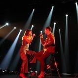 Maialen y Flavio, cantando en la Gala 5 de 'OT '2020'