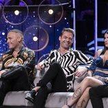 Dinio, Hugo Castejón y Nuria Martínez, en la gala final de 'El tiempo del descuento'