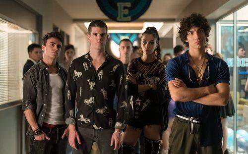 Samuel, Guzmán, Rebeca y Valerio en la temporada 3 de 'Élite'